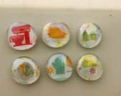 Kitchen themed glass fridge magnets (set of 6)