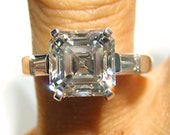 Reserved...3.22ct 14K White Gold ASSCHER CUT Diamond Engagement Ring