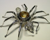3.23ct spider Pin Brooch and Pendant with pave diamonds and cabochon citrin in 18k white gold