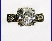 Reserved.....Art Deco 1.51ct  VINTAGE Antique Solitaire  One Round Old Mine Cut Diamond Wedding ENGAGEMENT Ring