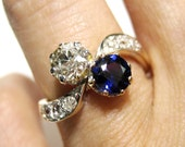 """Reserved......1880's Late Victorian 1.67ct Antique Old European cut  Diamond Crossover """"Toi et Moi"""" Engagement Ring 14K Gold"""