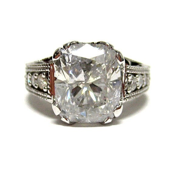 Items Similar To Reserved Antique Vintage CUSHION Cut DIAMOND ENGA