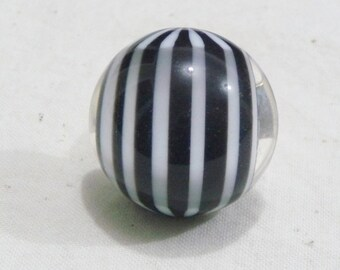Vintage Lucite Black & White Stripe Holiday Treat Statement Ring
