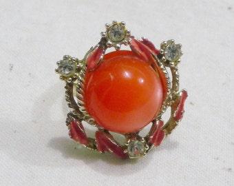 Vintage Bollywood-Style Orange & Rhinestone Statement Ring