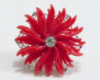 Vintage Red Plastic Flaming Sunflower Ring