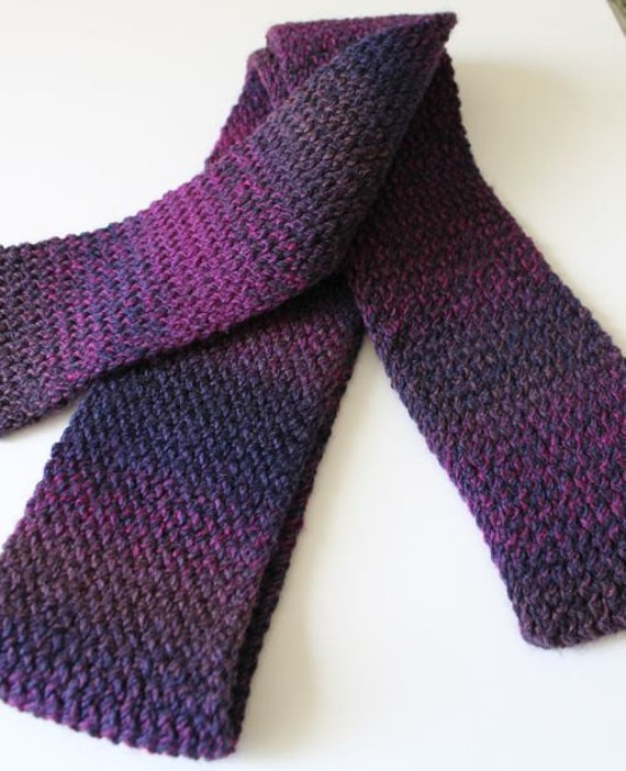 Knitting Loom Scarf Fringe : Purple Scarf Loom Knit Flat Scarf