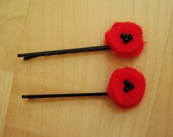 handmade red poppy hair pins (pair)