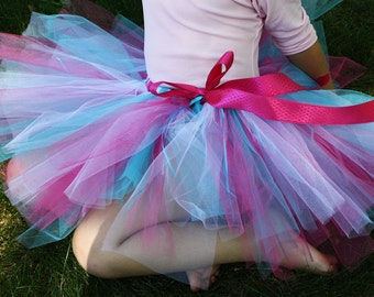 Pink, Blue and White Tutu 'The Bomb Pop Tutu' for Toddlers, Girls and Adults with coordinating headband