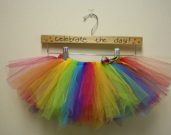 Rainbow Circus Tutu for toddler, girl or adult with matching headband for Spring and Summer Skittles theme