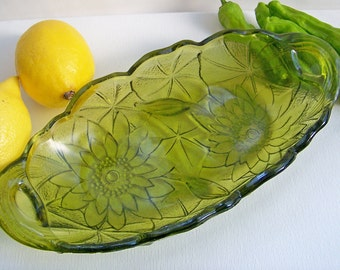 Relish Dish with Handles, in Lily Pons Avocado Glass