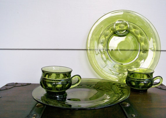 "Green Glass Snack Set, Luncheon Set, ""King's Crown""  or ""Thumbprint"""