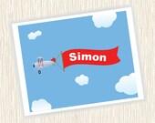 Airplane Banner Child Name Print FREE SHIPPING
