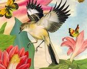 Blank Bird, Flower & Butterfly Card
