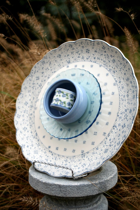 Flowering GARDEN YARD ART: recycled and layered glassware for outdoors