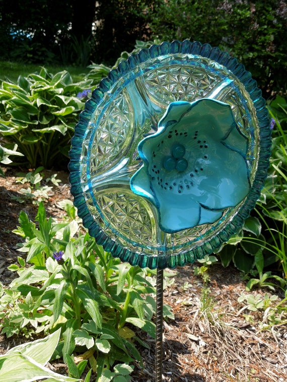 GARDEN and YARD  sun catcher: recycled glass painted for outdoors