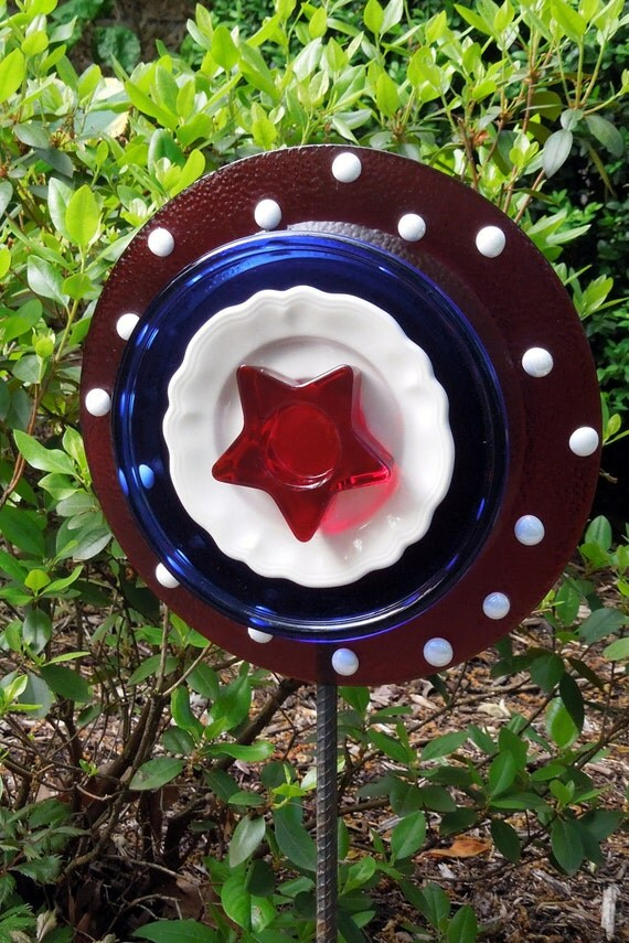 YARD recycled glass sculptures for July 4th sold on ETSY