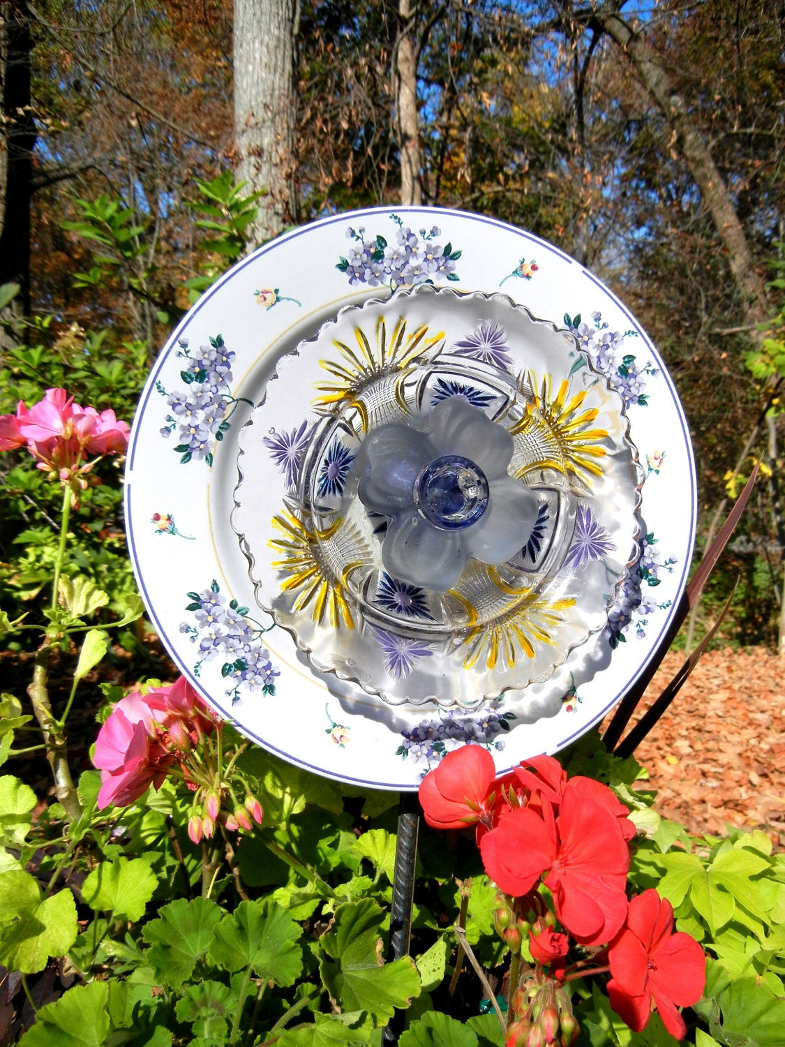 Sale Flowering Garden Yard Art Recycled Glass Painted In
