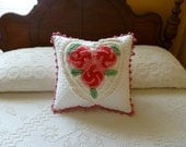 FREE SHIPPING-Upcycled Vintage Chenille Bedspread Pillow COVER 18x18