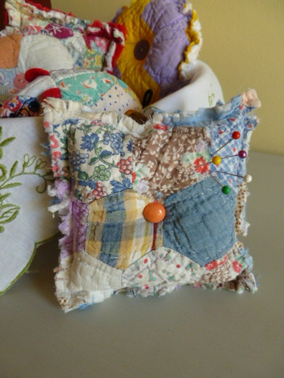 Recycled Antique Quilt & Chenille Square Pincushion
