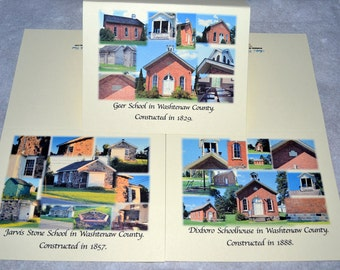 Schoolhouse Collage Photo Note Cards - Set of 12