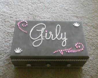 Bling grey suede jewelry box