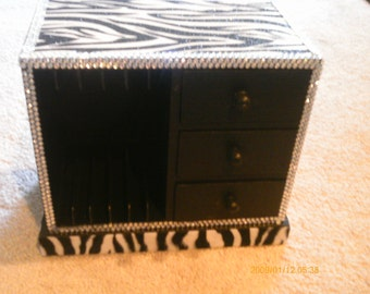 Bling Zebra Desk Organizer with Drawers
