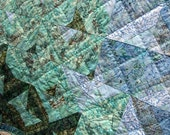 CLEARANCE SALE Batik Patchwork Quilt, Freshwater, Handmade by PingWynny