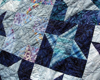 Batik Star Patchwork Quilt Milky Way by PingWynny Made to Order