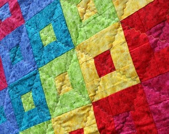 Clearance SALE Rainbow Patchwork Quilt, Spectrum Steps, Handmade by PingWynny