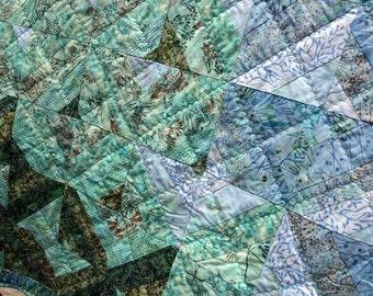 CLEARANCE SALE Batik Patchwork Quilt, Freshwater, Handmade by PingWynny