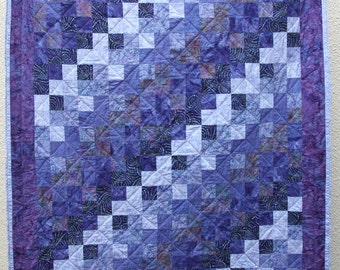 Batik Patchwork Quilt, Purple Rain Made To Order
