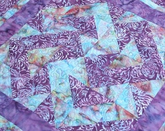 CLEARANCE SALE Table Topper Quilted Batik Patchwork or Wall Hanging, Purple & Blue