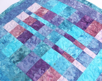 CLEARANCE SALE Table Topper Quilted Batik Patchwork or Wall Hanging, Purple, Blue & Pink