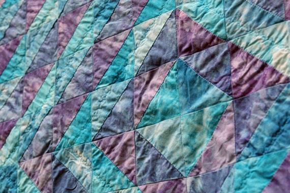 Batik Patchwork Quilt, Ocean Echo by PingWynny RESERVED for Katelynn