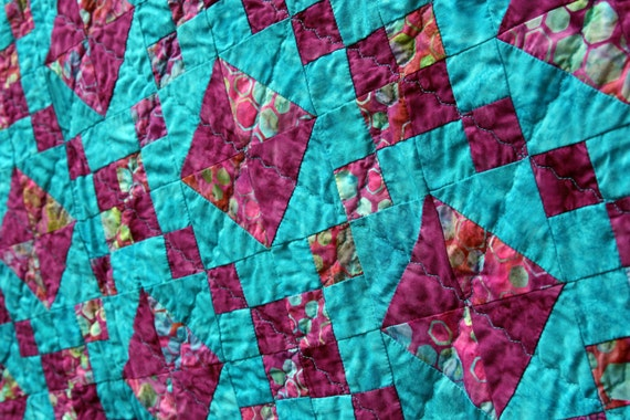 Batik Patchwork Quilt, Jewelled Trellis by PingWynny