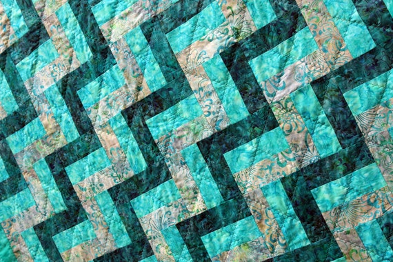 CLEARANCE SALE Batik Patchwork Quilt, Ripple in Turqoise and Teal, Handmade by Pingwynny