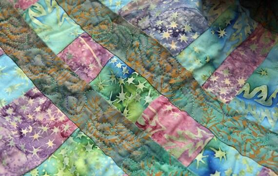 Fairy Forest, Batik Patchwork Lap Quilt