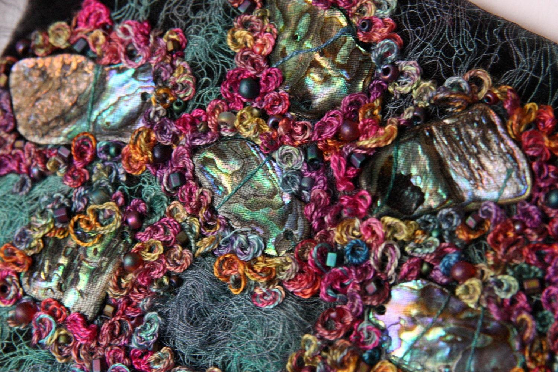 Embroidered Rainbow Paua Shell Textile Art