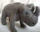 Needle felted rhino gift idea 30 dollars