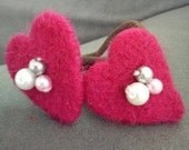 One hair elastic with needle felted hearts gift under 10 eco friendly