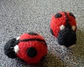 Ladybug fridge magnets needle felted Valentines day gift under 25