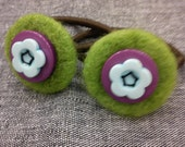 Two hair elastics with needle felted and button decoration