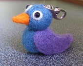 Needle felted bird with carabin hook for keyring or attachment to handbag gift under 15 dollars eco friendly