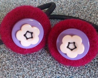 Two hair elastics with needle felted and button decoration gift for girl under 10 eco friendly