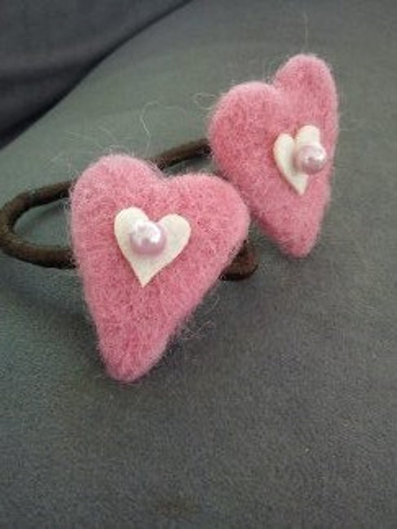 Hair elastics with needle felted hearts gift for girl under 10 dollars eco friendly