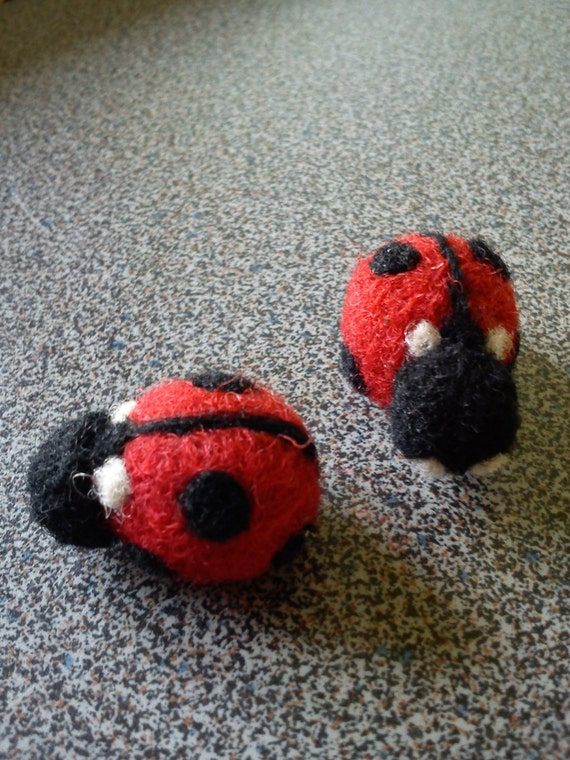 Ladybug fridge magnets needle felted Valentines day gift under 25
