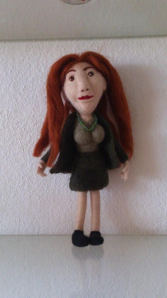 Anna an OOAK needle felted doll eco friendly