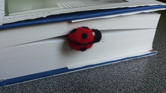 Needle felted bookmark ladybug gift under 20 dollars eco friendly
