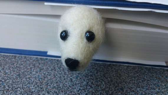 Needle felted bookmark baby seal gifts under 20