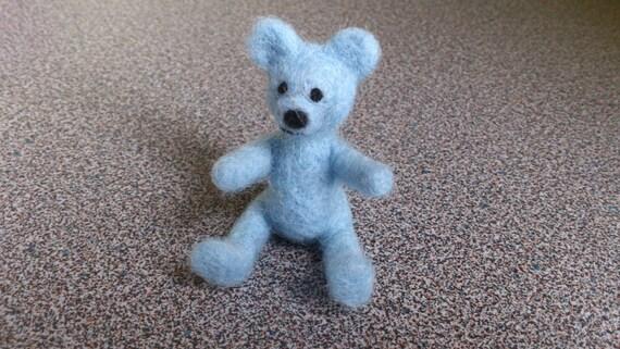 Needle felted light blue miniature teddy bear gift under 20